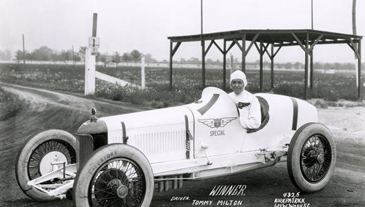 Tommy Milton in the #1 H.C.S. Special (Miller/Miller) at the Indianapolis Motor Speedway in 1923.