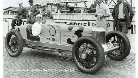 Peter DePaolo in the #3 Perfect Circle Miller (Miller/Miller) at the Indianapolis Motor Speedway in 1927.