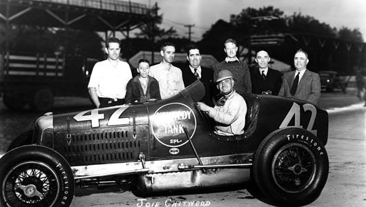 Joie Chitwood in the #42 Kennedy Tank Special (Adams/Offy) at the Indianapolis Motor Speedway in 1940
