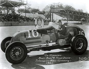 Floyd Davis & Mauri Rose drivers of the #16 Noc-Out Hose Clamp Special (Wetteroth/Offy) at the Indianapolis Motor Speedway in 1941