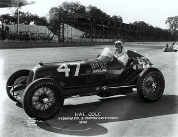 Hal Cole in the #47 Don Lee Special (Alfa Romeo/Alfa Romeo) at the Indianapolis Motor Speedway in 1946