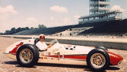 A.J. Foyt in the #1 Bowes Seal Fast Special (Trevis/Offy) the day after winning the 1961 Indianapolis 500 at the Indianapolis Motor Speedway.