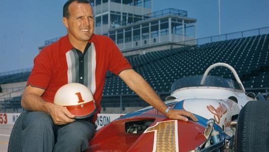 A.J. Foyt with the #1 Sheraton-Thompson Special (Watson/Offy)  at the Indianapolis Motor Speedway after winning the 1964 USAC Championship.