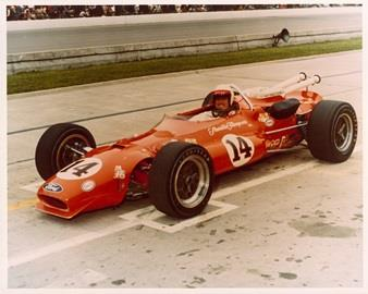 A.J. Foyt in the #14 Sheraton -Thompson Special (Coyote/Ford) after qualifying for the 1967 Indianapolis 500 at the Indianapolis Motor Speedway in 1967.