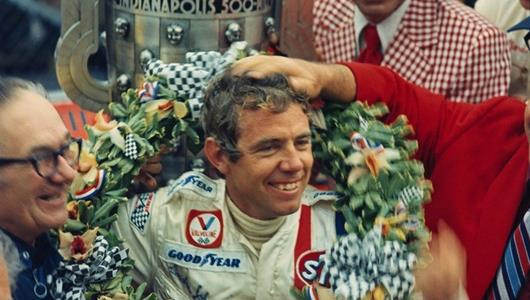 Gordon Johncock celebrates in Victory Circle after winning the 1973 Indianapolis 500 at the Indianapolis Motor Speedway.