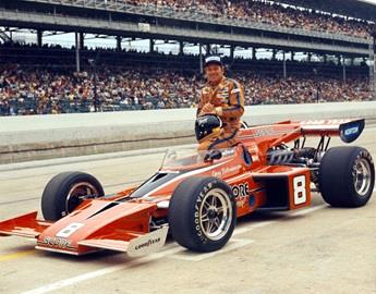 Gary Bettenhausen in the #8 SCORE Special (McLaren/ Offy) after qualifying for the 1974 Indianapolis 500 at the Indianapolis Motor Speedway.
