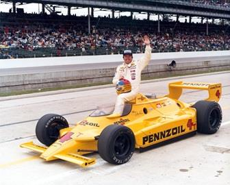 Johnny Rutherford in the #4 Pennzoil Special (Chaparral/Cosworth) after qualifying for the 1980 Indianapolis 500 at the Indianapolis Motor Speedway.