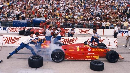 Mario Andretti in the 1987 Miller Pit Stop competition.