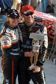 Kevin Harvick and his wife, Delana, celebrate his victory.