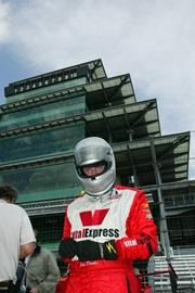 Jay Drake driver of the #25 Vital Express/AFS Racing at Indianapolis Motor Speedway during the Futaba Freedon 100.