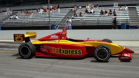 The #25 AFS Racing Dallara/Infiniti, driven by Jay Drake,  before the Menards Infiniti Pro Series Futaba Freedom 100 at the Indianapolis Motor Speedway