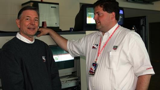 Jon Koskey (right),Director of Timing and Scoring for the Indy Racing League,during Pole Day at the Indianapolis Motor Speedway