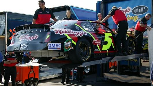 The #5 Hendrick Racing Kellogg's Chevrolet driven by Terry Labonte being lowered from the hauler.
