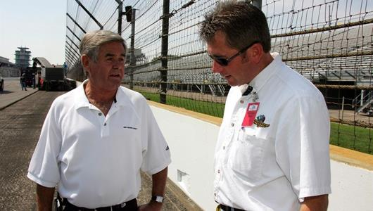 Four-time Indianapolis 500 winner Al Unser, left, and IMS Director of Engineering and Construction Kevin Forbes talk about the massive Speedway repaving project.