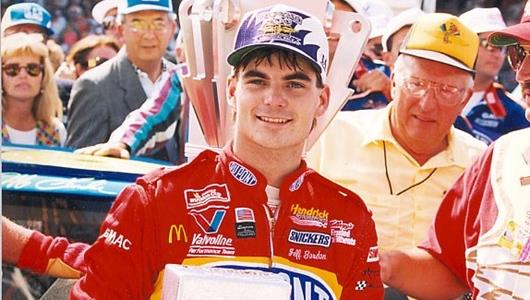 Jeff Gordon celebrates his win of the inaugural Brickyard 400 in 1994.