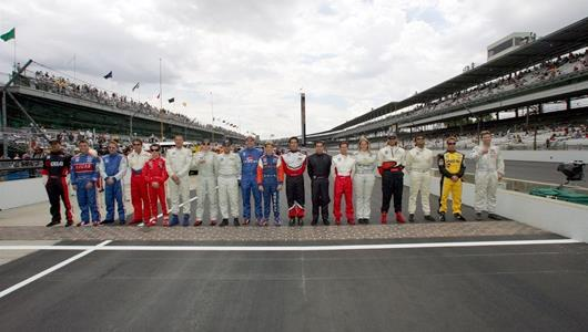 The starting lineup for the Futaba Freedom 100 at Indianapolis Motor Speedway.