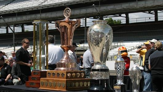 Special collection of one-of-a-kind trophies to be presented to Indianapolis 500 competitors at the 2005 Public Driver\'s Meeting.