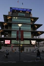 The Bombardier Pagoda at Indianapolis Motor Speedway at sunrise on Indianapolis 500 Race Day.