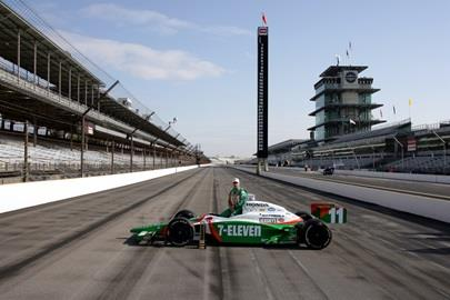 Tony Kanaan driver of the #11 Team 7-Eleven Dallara Honda during Pole position photo at the Indianapolis Motor Speedway.
