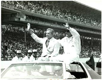 Indianapolis Motor Speedway President Tony Hulman, left, and A.J. Foyt ride in the Pace Car after Foyt earned his fourth Indianapolis 500 victory in 1977. This was Hulman\'s last 500, as he passed away in October 1977.