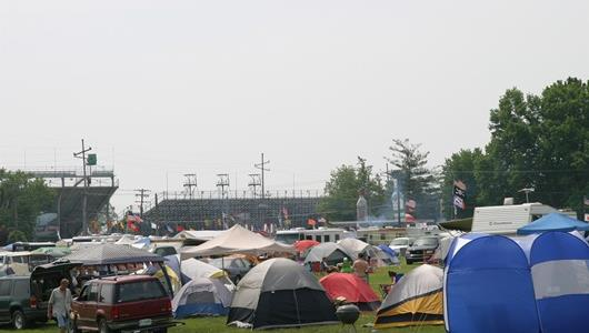 Tents around the Indianapolis Motor Speedway the morning before the 90th running of the Indianapolis 500.
