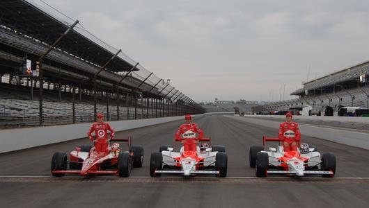 The front row of the 2006 Indianapolis 500. From right, pole sitter Sam Hornish Jr., driver of the No. 6 Marlboro Team Penske car; Helio Castroneves, driver of the No. 3 Marlboro Team Penske car; and Dan Wheldon, driver of the No. 10 Target Chip Ganassi Racing car.