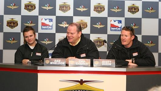 Team owner Chip Ganassi is flanked by his drivers, Dan Wheldon, left, and Scott Dixon at the Indianapolis Motor Speedway.