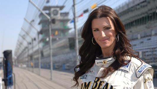 National Mrs. Indiana, Justine Kaldahl, after taking a two-seater ride around the famous Indianapolis Motor Speedway.