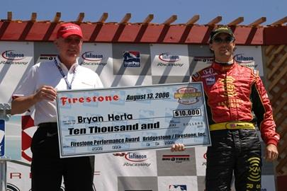 Firestone Performance Award presented to Bryan Herta for his preformance at Kentucky.