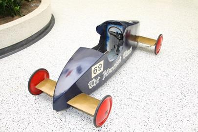 The Soap Box Derby car driven by 1971 Indianapolis 500 Rookie of the Year Denny Zimmerman