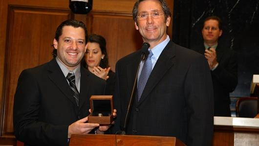 Tony Stewart, left, and Indianapolis Motor Speedway Chief Executive Officer Tony George