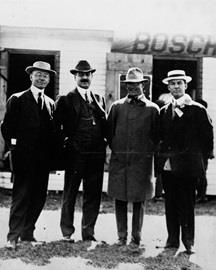The four founders of the Indianapolis Motor Speedway. From left, Arthur Newby, Frank Wheeler, Carl Fisher, James Allison. The photo likely was taken on the morning of the inaugural Indianapolis 500, May 30, 1911.