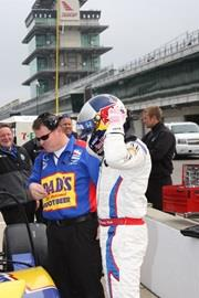 2004 Indianapolis 500 winner Buddy Rice prepares for a test run.