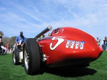 "The 1957/1958 John Zink Special on display at the Amelia Island Concours d'Elegance. 1960 Indianapolis 500 winner Jim Rathmann captured the famous ""Race of Two Worlds� in 1958 on the fearsome oval at Monza, Italy, in this Offenhauser-powered roadster designed and built by A.J. Watson."