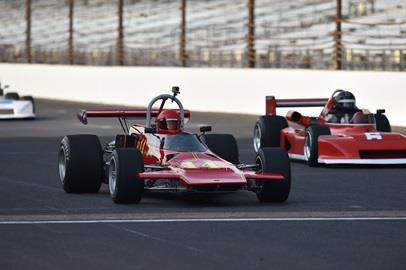 Group practice on the Indianapolis Motor Speedway Road Course for the Brickyard Vintage Racing Invitational