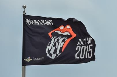 The Rolling Stones set up for their Fourth of July concert at the Indianapolis Motor Speedway