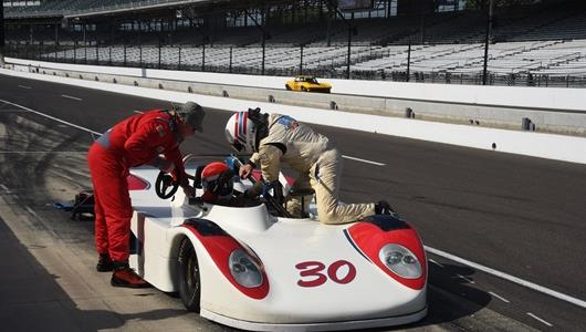Scene from the SVRA Brickyard Vintage Racing Invitational at the Indianapolis Motor Speedway on Sunday