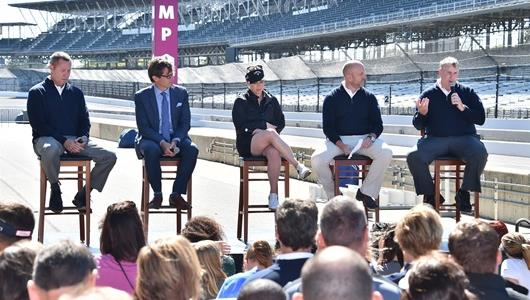 Mike Whan, Doug Boles, Morgan Pressel, Dan Towriss, Greg Ballard help announce the Indy Women in Tech Championship at the Indianapolis Motor Speedway
