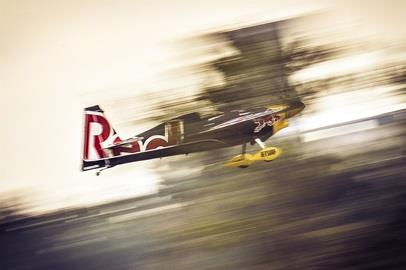 Pilots navigate the race course through the Indianapolis Motor Speedway for the Red Bull Air Race