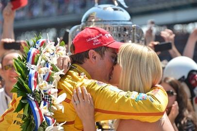 Ryan Hunter-Reay kisses his wife Beccy after winning the 2014 Indianapolis 500