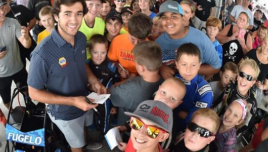 Chase Elliott creates a big buzz at the Quarter Midgets race, where racing's youngest fans are eager to meet him