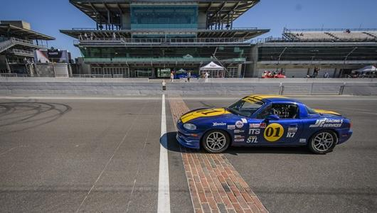 Car crosses the yard of bricks during the Saturday session of the SCCA Runoffs at the Indianapolis Motor Speedway