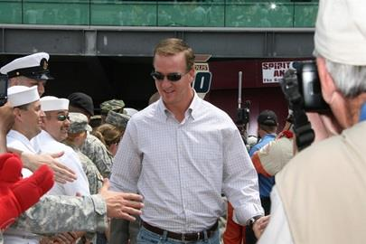 Peyton Manning shakes hands at the 2007 Indy 500
