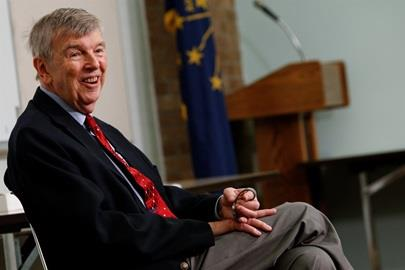 Donald Davidson smiles at the Speedway Public Library to kick off the 2018 Indy 500 Statewide Engagement Tour
