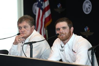 Conor Daly answers questions during press conference announcing his Indy 500 ride