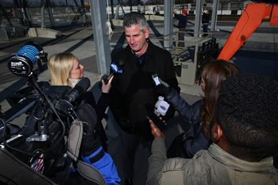 Indianapolis Colts Head Coach Frank Reich speaks with media after helping signal race season in Indianapolis