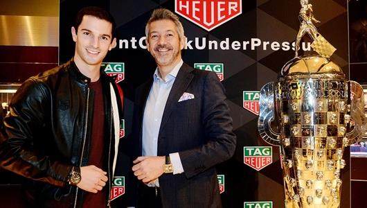 Alexander Rossi and Andrea Soriani, VP of Marketing TAG Heuer North America attend the TAG Heuer IndyCar Season kick off event in Orlando, Fl.