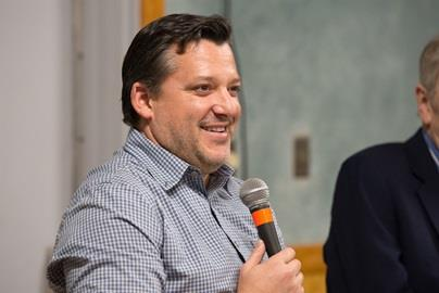 NASCAR Champion and 1996 Indianapolis 500 pole sitter Tony Stewart joins Donald Davidson during a Statewide Engagement Tour stop in Indiana