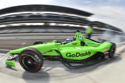 Danica Patrick peels out of her pit stall during practice for the 102nd Indianapolis 500 at the Indianapolis Motor Speedway