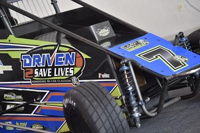 The #7 Clauson/Marshall wearing the Driven2SaveLives livery for the announcement of the Driven2SaveLives BC39 feature race to be held at the Indianapolis Motor Speedway on Sep. 6